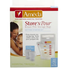 Ameda Store'N Pour™ Breast Milk Storage Bags Getting Started Kit